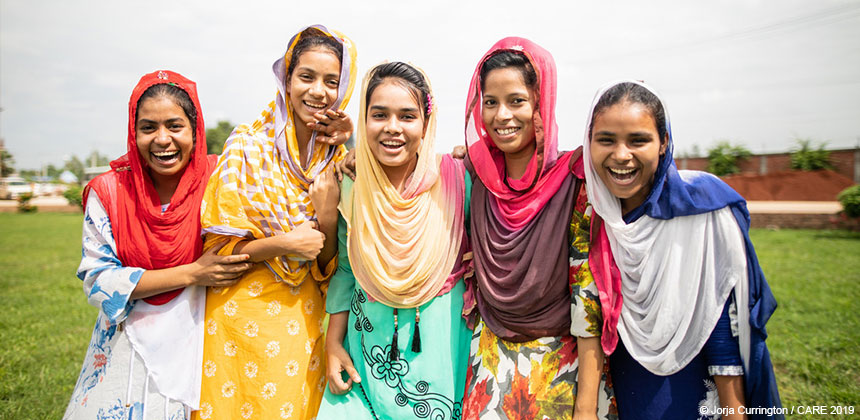 Five women in Bangladesh who work in a garment factory