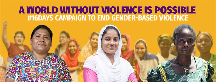 #16days campaign graphic featuring 3 women