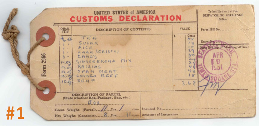 Customs label on an original CARE package