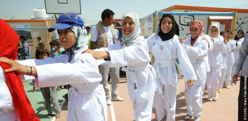 Syrian girls prepare for Tae Kwon Do display