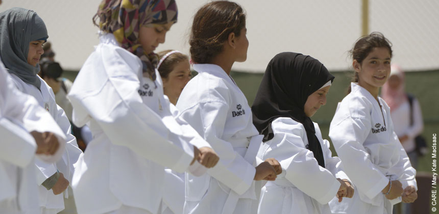 Syrian girls participating in a display of Tae Kwon Do