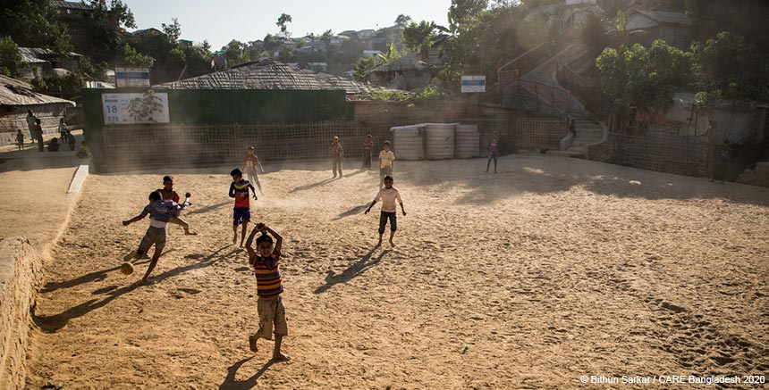 Children playing football at Cox's Bazar refugee camp