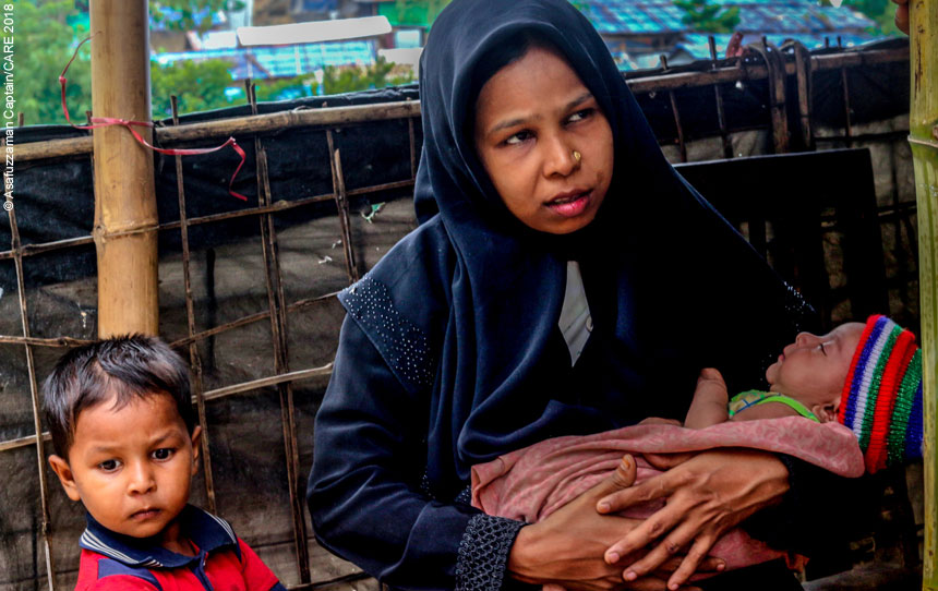 Anwara and her children in the refugee camp in Bangladesh