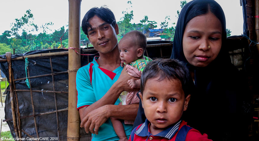 Anwara and her family in refugee camp in Cox's Bazar, Bangladesh