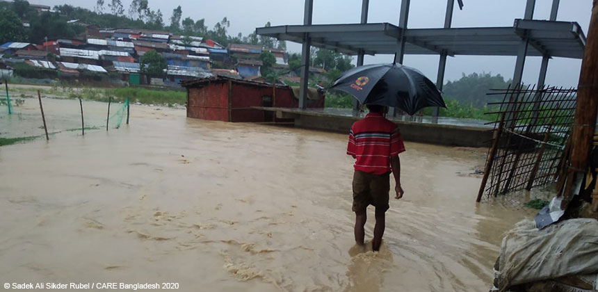 Floods from heavy rain at refugee camp, Cox's Bazar