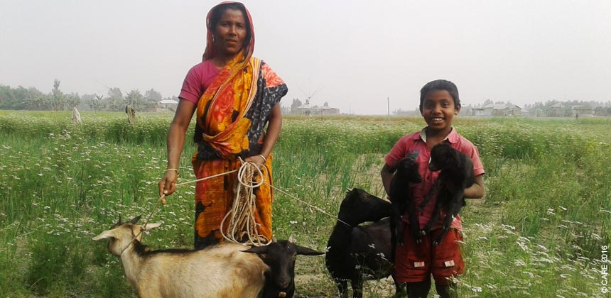 Rupjan with her son and her goats