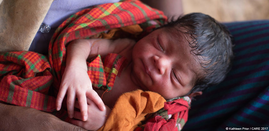 Baby girl in Bangladesh refugee camp