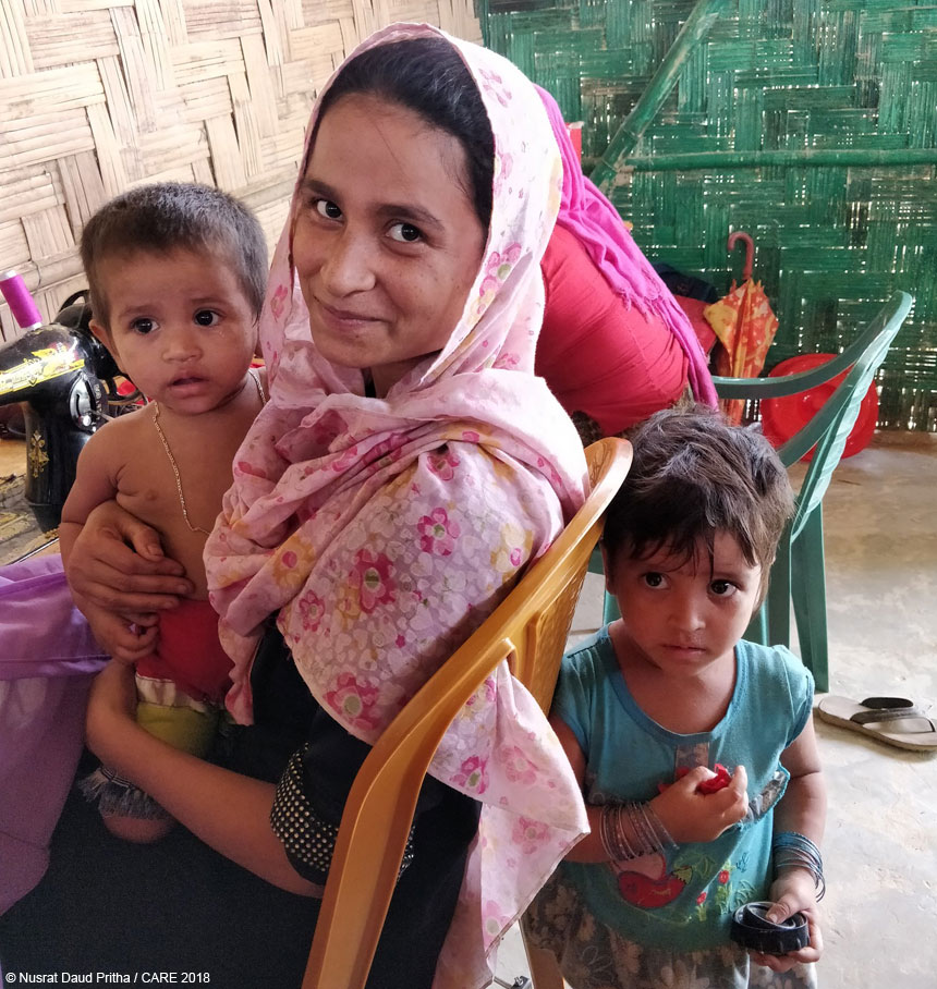 Noor Hasina with her two daughters in Bangladesh refugee camp