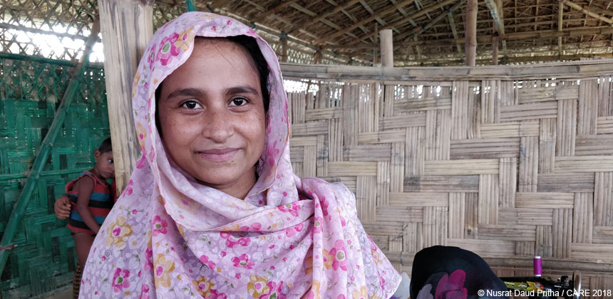Noor Hasina in the women-friendly shelter in Bangladesh refugee camp