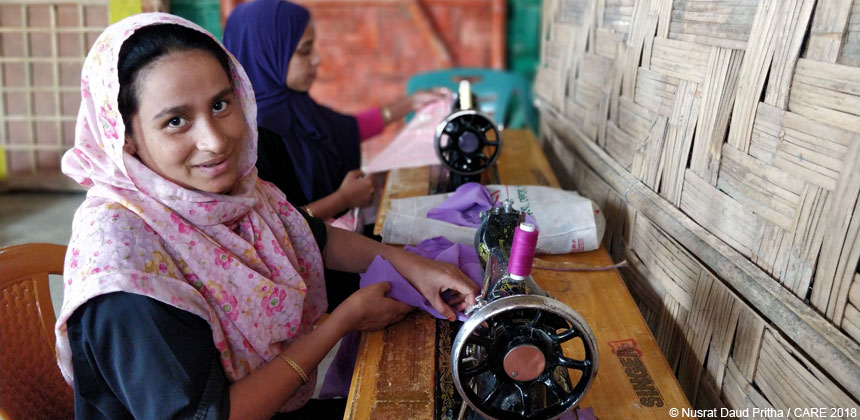 Noor Hasina using a sewing machine in Bangladesh refugee camp