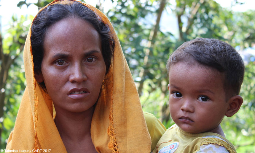 Woman and baby in Bangladesh refugee camp