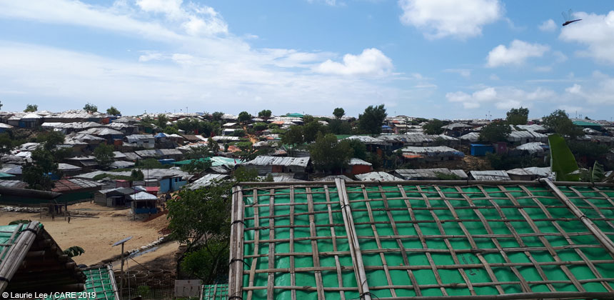 A view of rooftops at the refugee camp