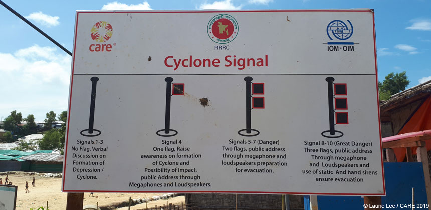 Signboard showing cyclone early warning system