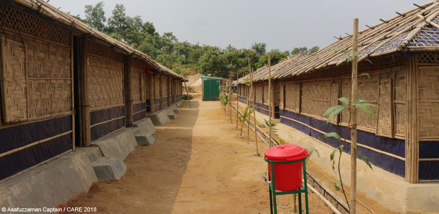 A row of new shelters at the refugee camp