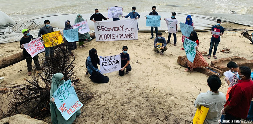 A protest by youth climate activists in Bangladesh