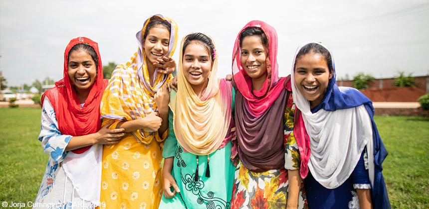 Group of five women in Bangladesh