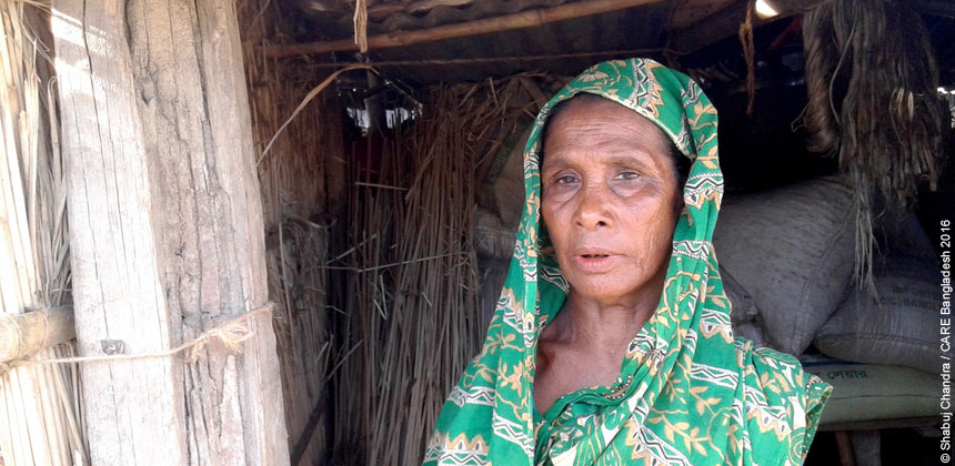 Rajina Begum in her house damaged by floods