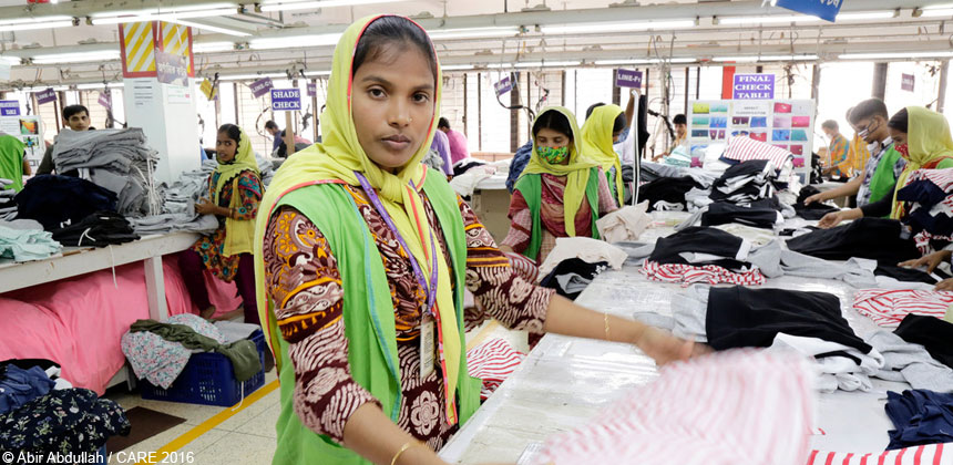 A woman at a garment factory in Bangladesh