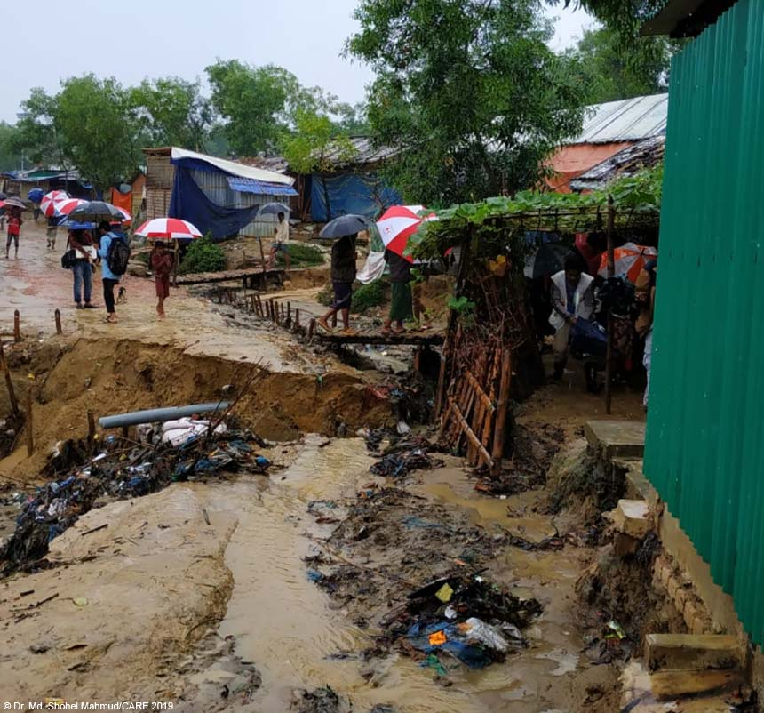 Landslide on an access road in Camp 13, Cox's Bazar, Bangladesh