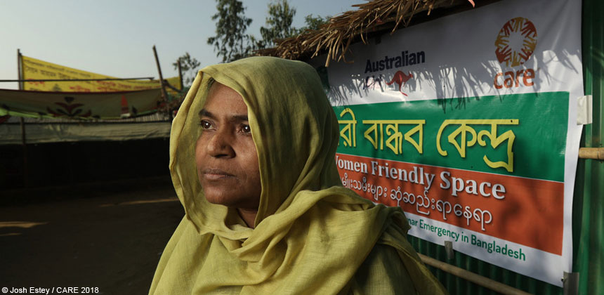 Woman outside women friendly centre in Bangladesh refugee camp