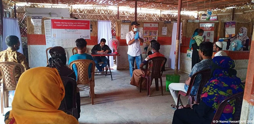Awareness session at Cox's Bazar refugee camp in Bangladesh