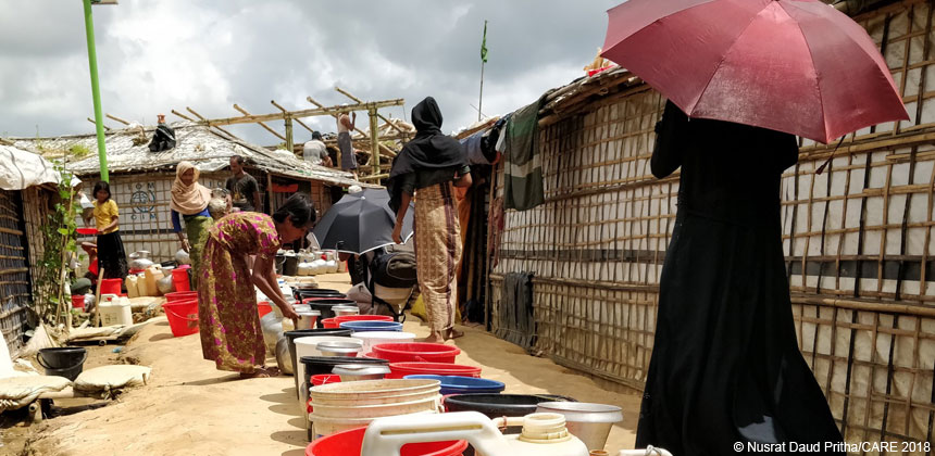 Women and girls at a WASH facility in refugee camp in Bangladesh