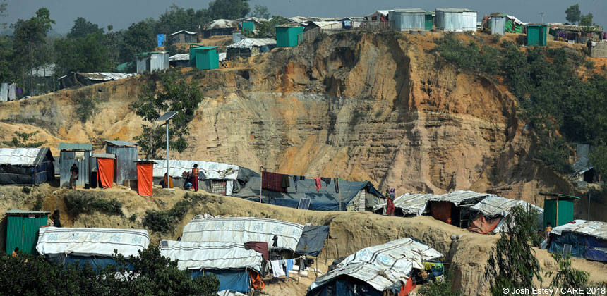 Hillside with tent shelters at Bangladesh refugee camp