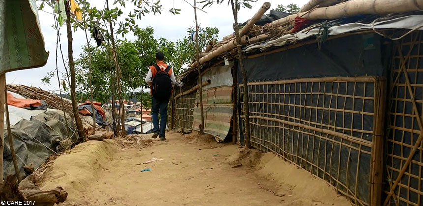 Walking up the path at the refugee camp in Bangladesh