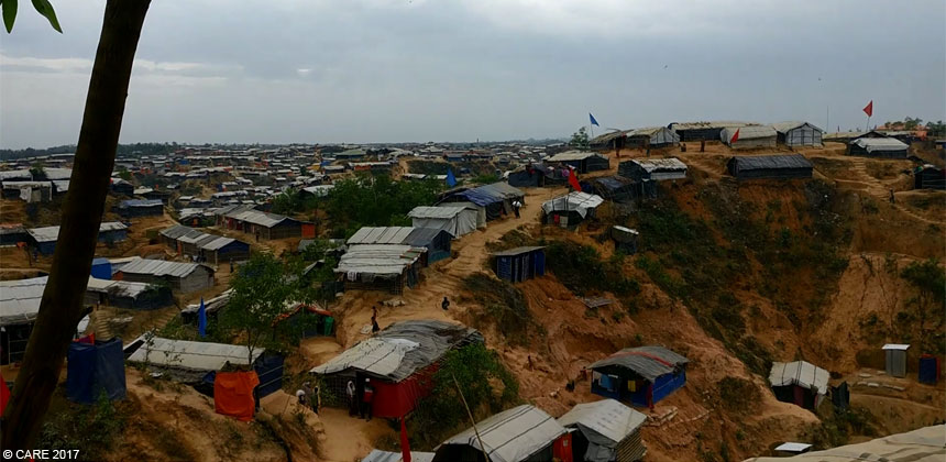 View from the ridge over the refugee camp in Bangladesh
