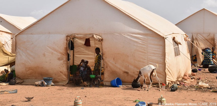 A tent at an IDP camp in Burkina Faso