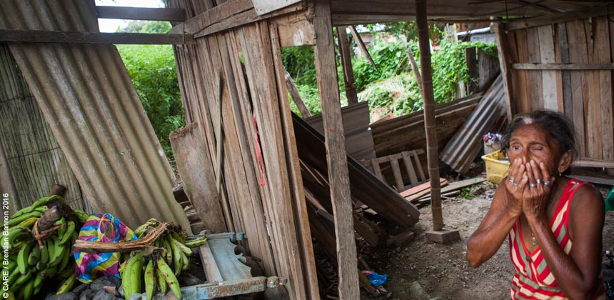 Ramona in her home which was badly damaged by the earthquake