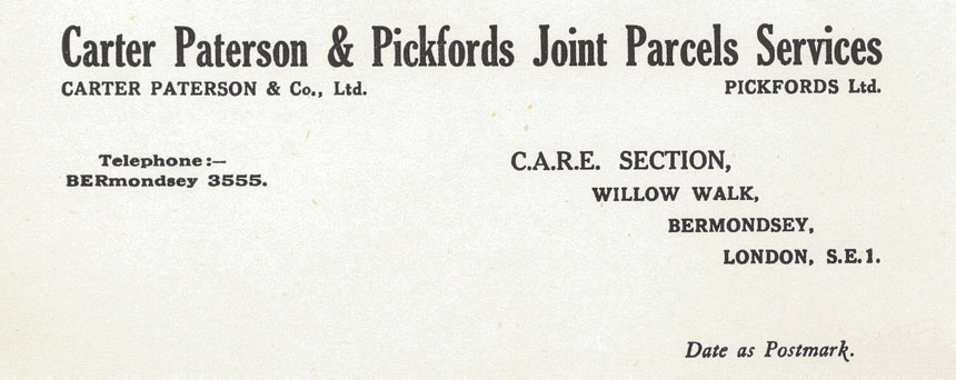 Letter from Pickfords
