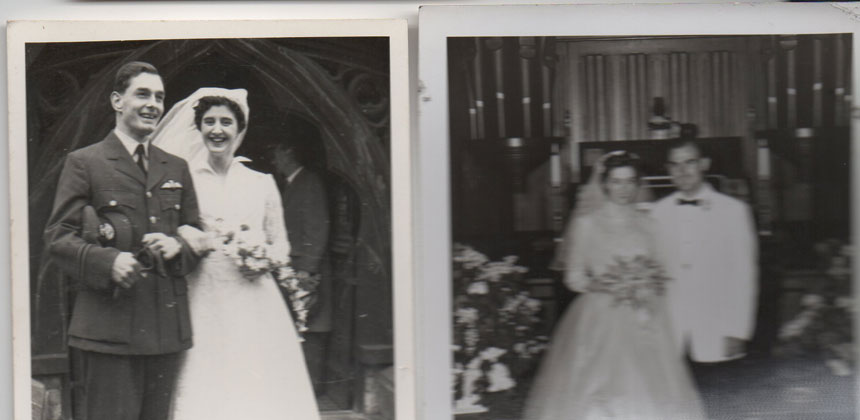 Photos of Janet and Shirley on their wedding days