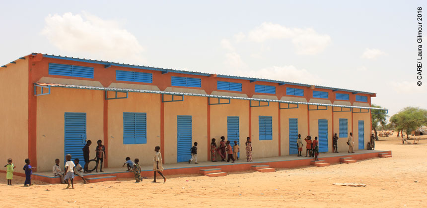 A new school built by CARE for displaced children in Niger