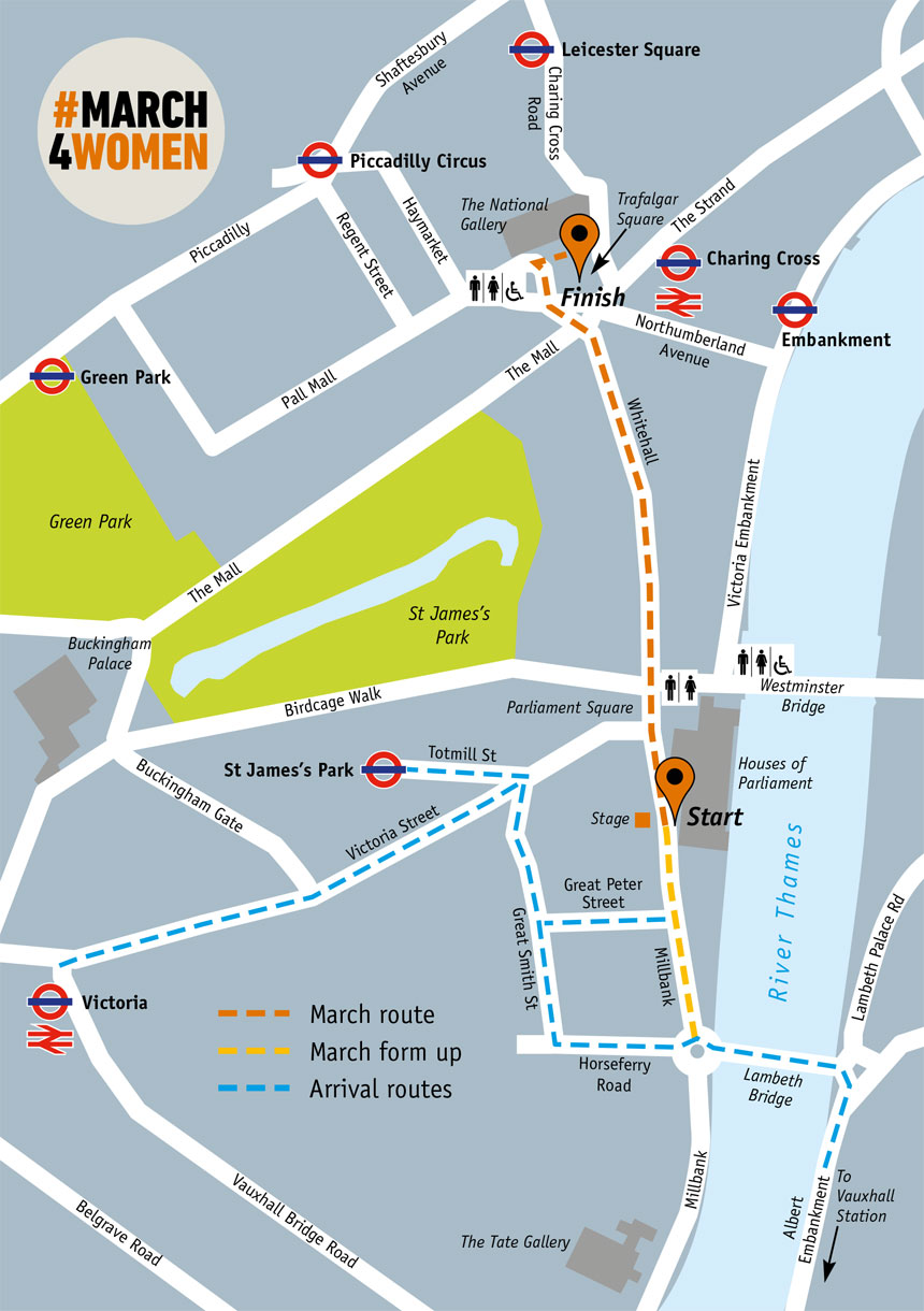 Map of #March4Women event in London
