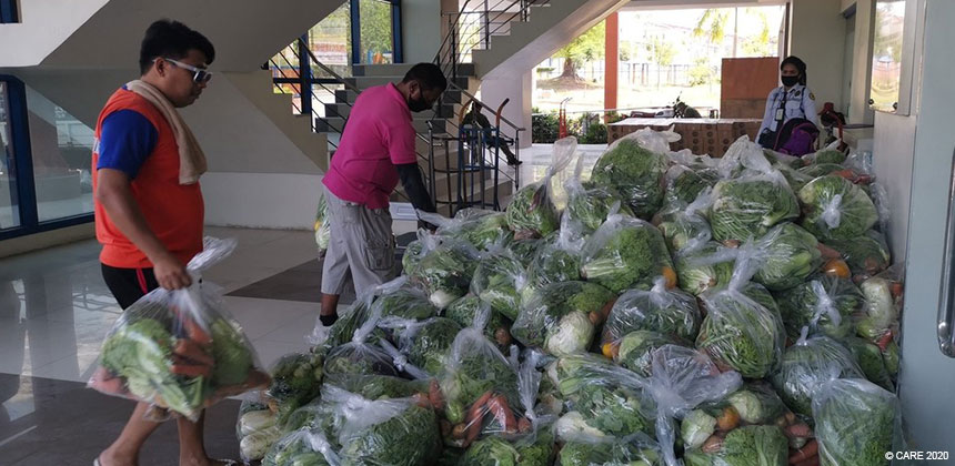 Vegetables sorted for distribution in the Philippines