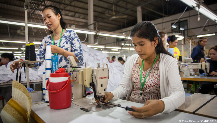 Two women garment factory workers in Cambodia