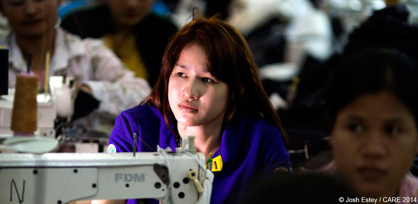 A garment worker in Cambodia
