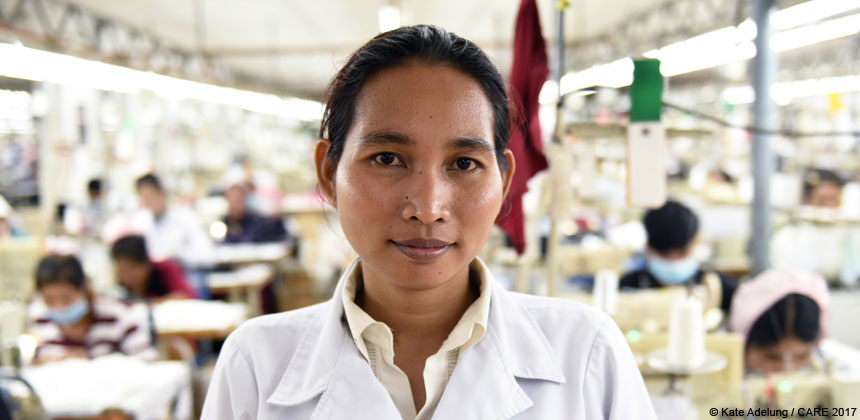 A woman worker in a garment factory in Cambodia
