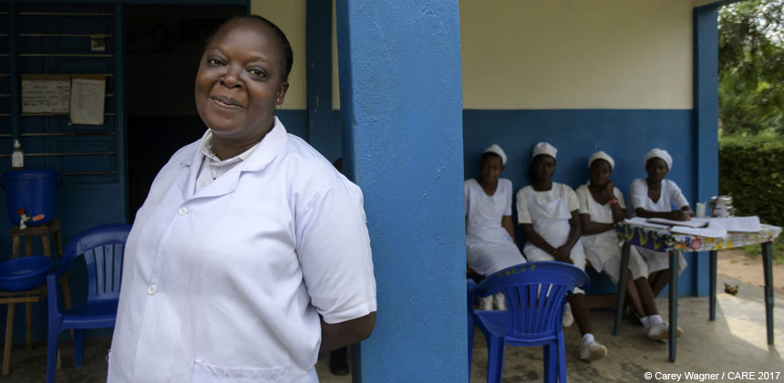 Chantal, a nurse trained by CARE, in the DRC
