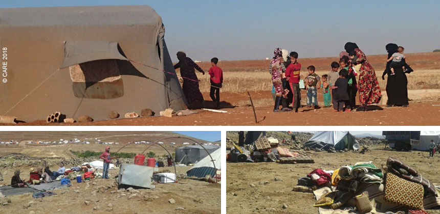 Displaced people setting up tents in Daraa, Syria