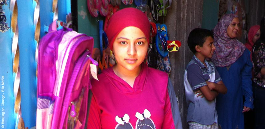 Nada in front of her shop