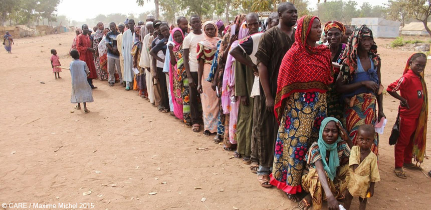 People queuing for emergency supplies in Chad