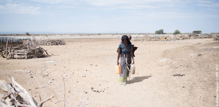 A woman carrying water in Ethiopia