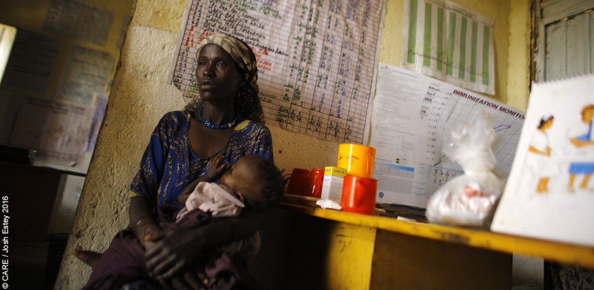 A woman and baby in a health centre in Ethiopia