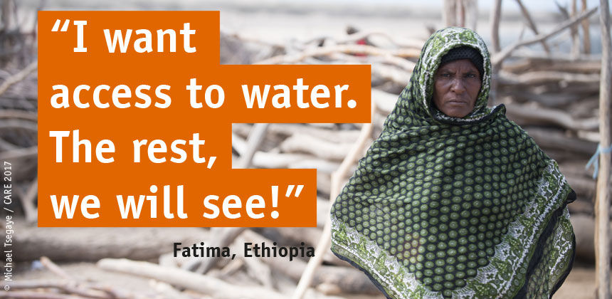 """Fatima in Ethiopia with quote: """"I want access to safe water"""""""