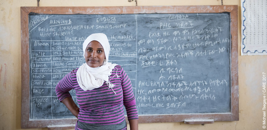 Alam, a teacher in her classroom in Ethiopia