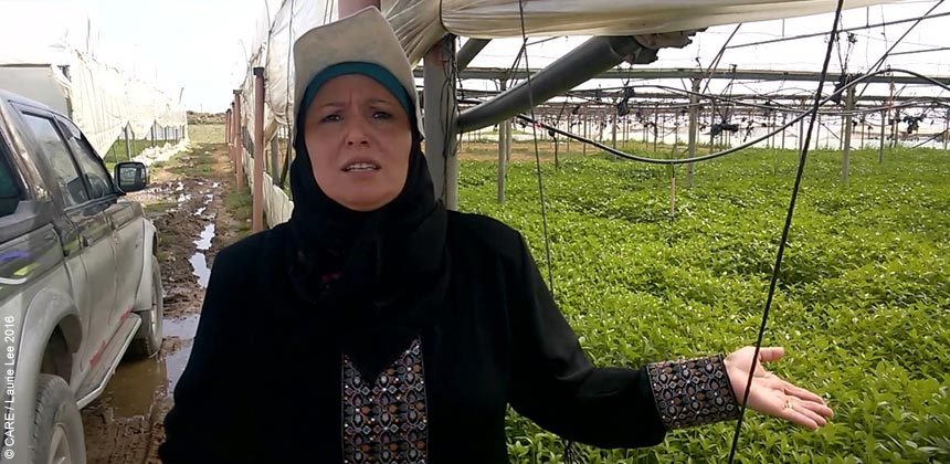 Ahlam at her greenhouse in Gaza