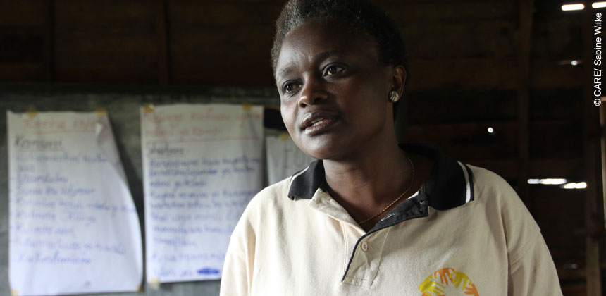 Rose Vive is a CARE staff member in Goma, DRC. She is responsible for a project that uses a community based approach to combat sexual violence and empower women to take care for themselves and their families