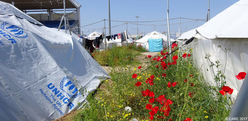 Tents at a refugee camp in Greece